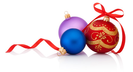 glass christmas tree ornament: Three decorations Christmas ball with ribbon bow isolated on white background