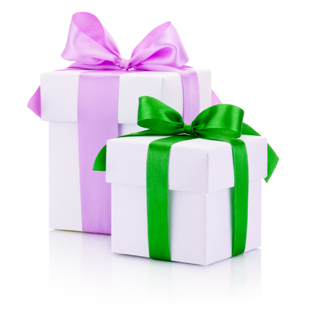 boxs: Two white gift boxs tied pink and green ribbons bow Isolated on white background