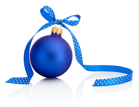blue ball: Blue Christmas ball with ribbon bow Isolated on white background Stock Photo