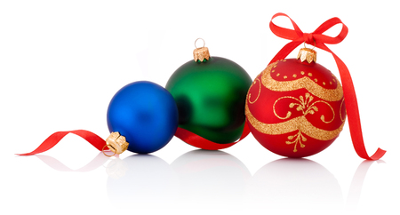 christmas balls: Three decorations Christmas ball with ribbon bow Isolated on white background