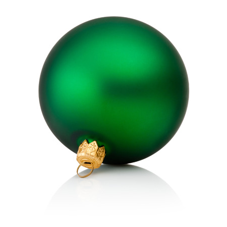 christmas decorations with white background: Green christmas ball Isolated on white background