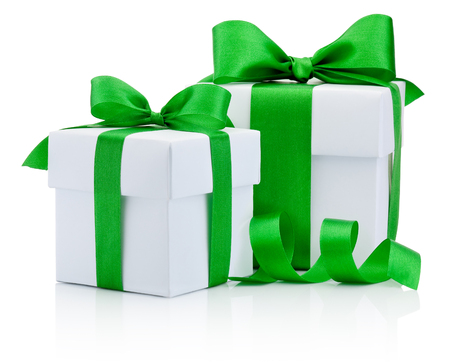 boxs: Two gift white boxs tied green ribbon bow Isolated on white background
