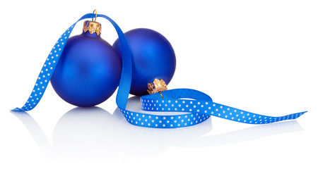Two blue christmas balls and ribbon Isolated on white background