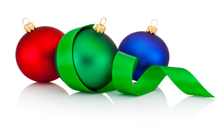 scroll: Three colored Christmas baubles with ribbon isolated on white background Stock Photo