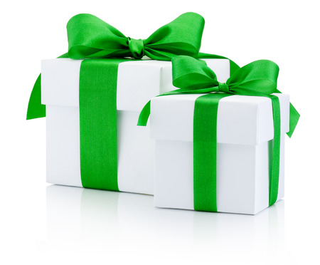 boxs: White gift boxs tied green ribbon Isolated on white background