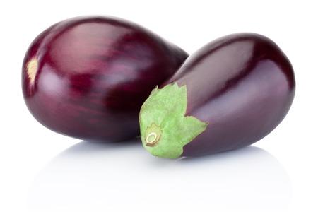 Two fresh aubergine isolated on white background Banco de Imagens