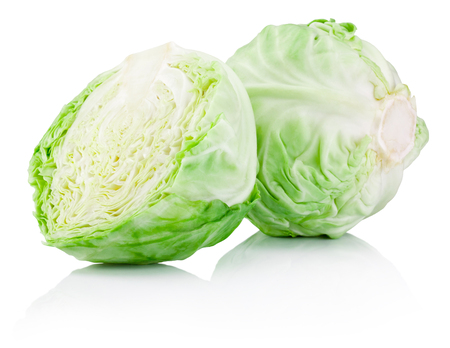 Green cabbage isolated on a white background Фото со стока