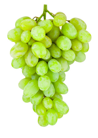 white grape: Ripe green grape hanging isolated on white background Stock Photo