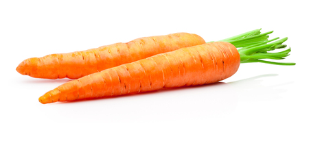 Two carrots isolated on withe background