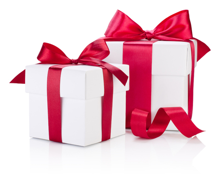 Two white gift boxes tied burgundy ribbon bow Isolated on white background