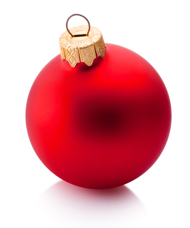 Christmas red bauble isolated on white background Banco de Imagens