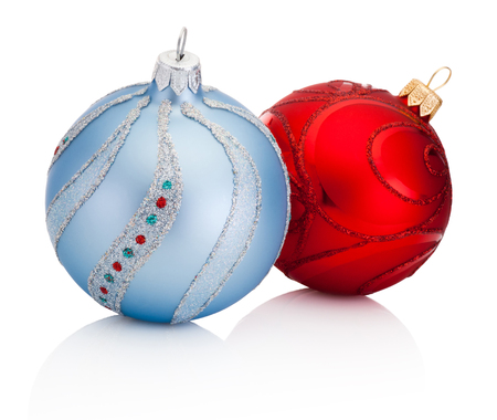 Blue and Red Christmas decoration baubles isolated on white background Banco de Imagens