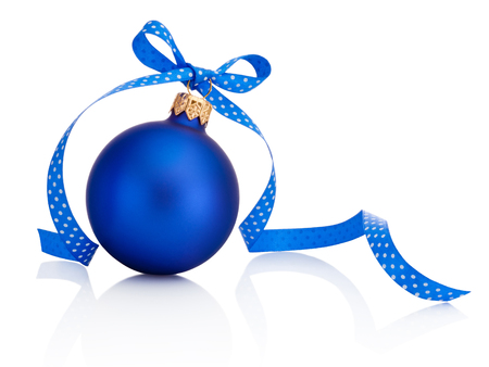 Blue Christmas bauble with ribbon bow Isolated on white background