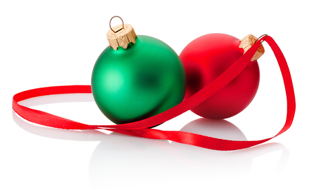 Two Christmas bauble and ribbon isolated on white background Banco de Imagens