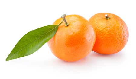 Two tangerines oranges fruit isolated on white background Banco de Imagens
