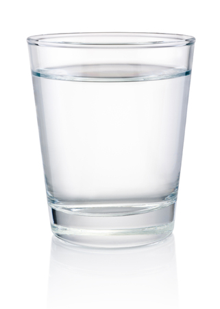 Glass of drinking water isolated on a white background Banco de Imagens