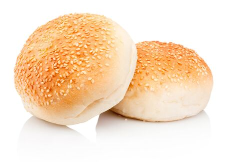 Two buns with sesame isolated on a white background
