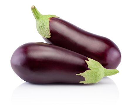 Two fresh eggplants isolated on a white background