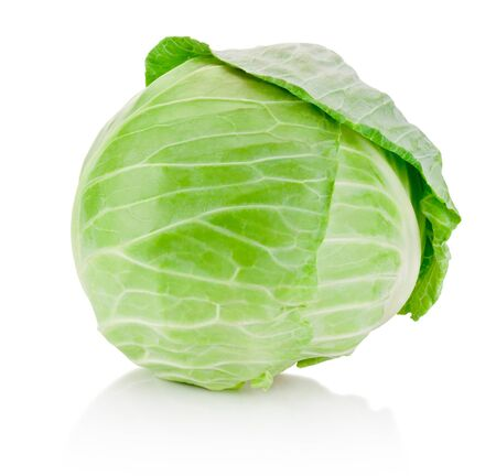 Fresh green cabbage isolated on a white background
