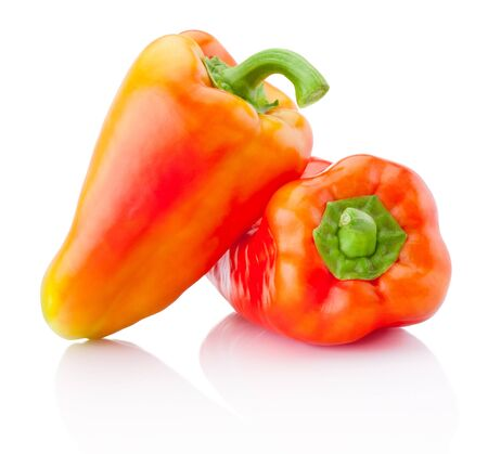 Two red peppers isolated on a white background Banco de Imagens