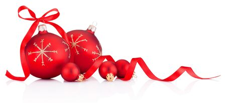 Red Christmas decoration baubles with ribbon bow isolated on white background Reklamní fotografie