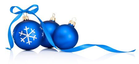 Three blue Christmas decoration bauble with ribbon bow isolated on a white background Stock Photo