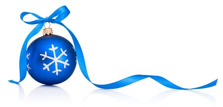 Christmas blue decoration bauble with ribbon bow isolated on a white background