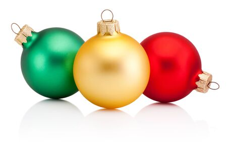 Christmas colored baubles Isolated on a white background Standard-Bild