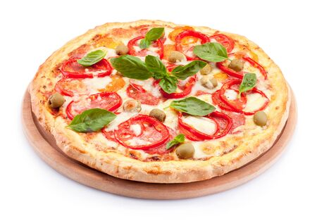 Delicious pizza isolated on a white background