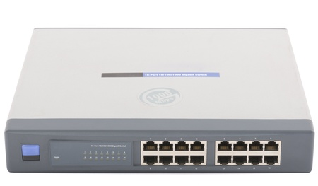 network port: Network switch front panel with 16 ports isolated
