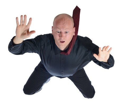 stumble: sky diving  falling businessman isolated on white background Stock Photo
