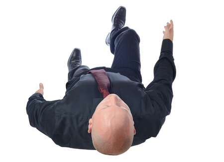 Top view of businessman walking isoliert auf weiß
