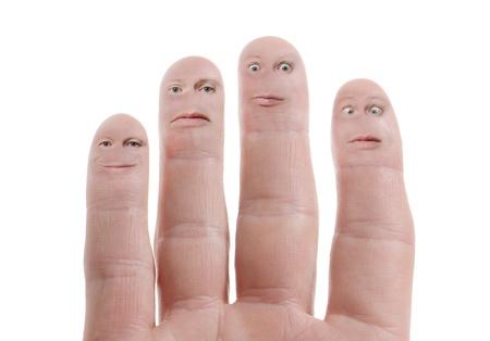 vingers met uitdrukkingen op wit wordt geïsoleerd
