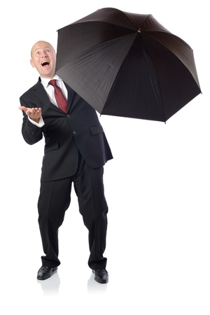 getting better: Man in suit with umbrella concept of getting better