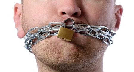 censorship: Concept of freedom of speech or no talking isolated on white Stock Photo