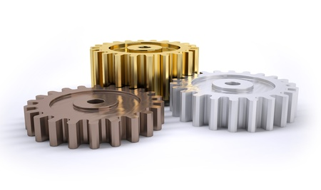 ranking: Three gears bronze silver and gold as a poduim concept of winning Stock Photo