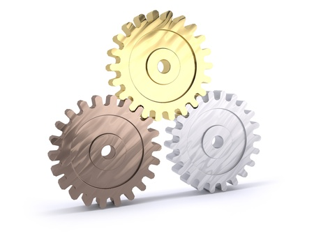 Three gears bronze silver and gold as a poduim concept of winning Stock Photo - 16385261