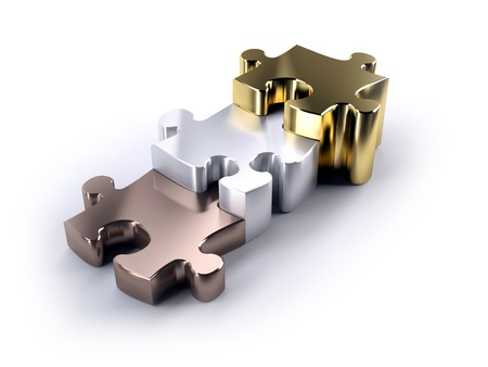 Thre jigsaw peices bronze silver and gold as a poduim concept of winning Stock Photo