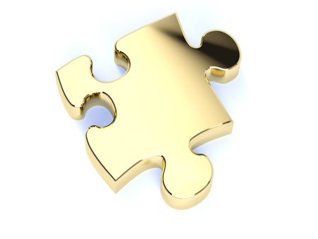puzzle shadow: A single gold jigsaw puzzle peice Stock Photo