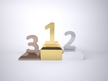 Three numbers 1,2,3  bronze silver and gold as a poduim concept of winning