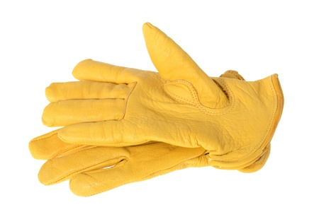 yellow leather workmans golves isolated on white Stock Photo - 16759611