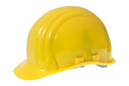 Yellow construction safety hard hat isolated on white background Stock Photo - 16759544