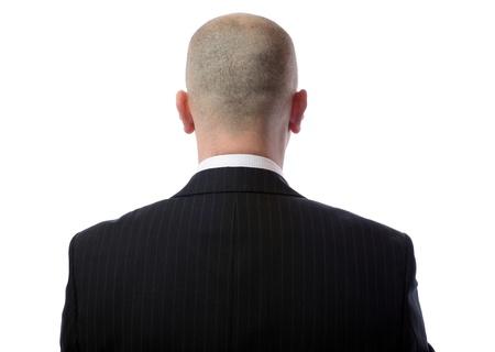 hombre calvo: Vista trasera del hombre calvo llevaba traje sobre fondo blanco Foto de archivo