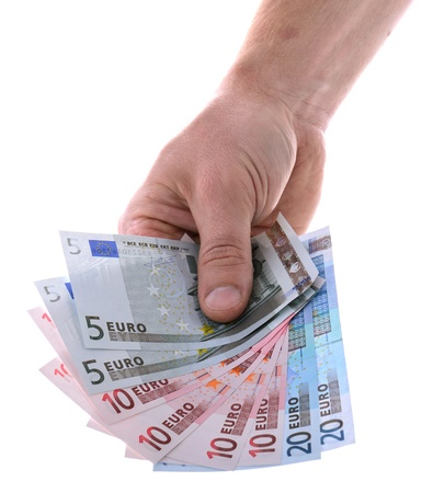 hand holding euro bank notes Stock Photo - 16759593