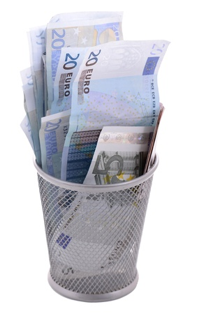 downturn: concept of euro downturn problems with exchange rate dropping Stock Photo