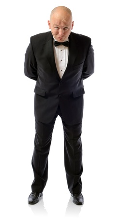 raised eyebrow: are you sure about that, concept of non belief man in tuxedo isolated on white