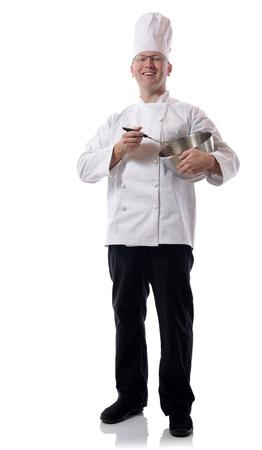 Männlich Chef lächelnd mit Schüssel isoliert auf weiß