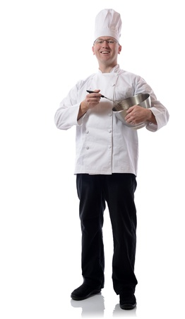 Male chef smiling with mixing bowl isolated on white Stock Photo