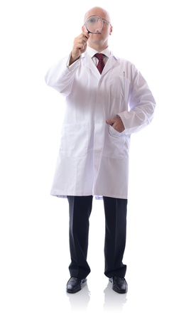 scientist looking thorugh a magnifying glass photo