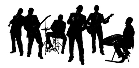 musician silhouette: silhouette Band playing isolated on white